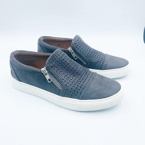 New Gray Alexa Perforated Zip Sneakers